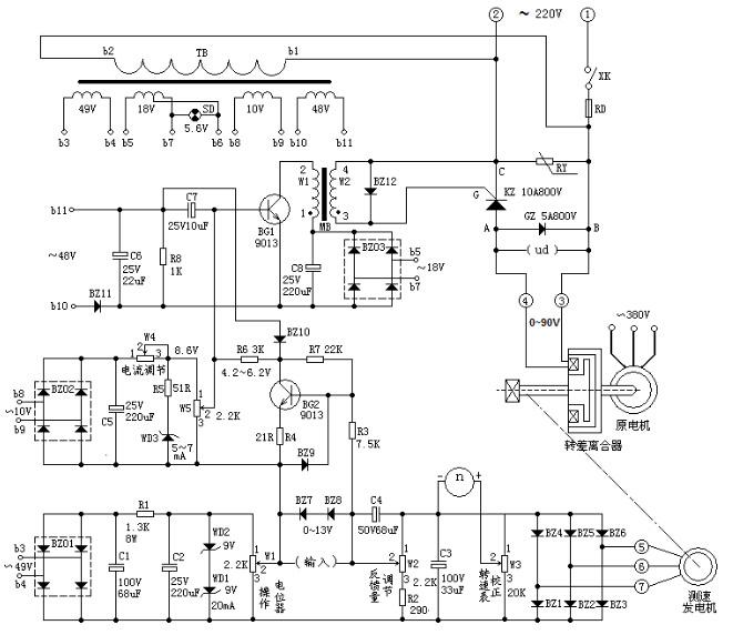 电磁调速器电路图原理图